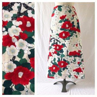 【和柄】白南風の巻きスカート85cm(紅椿白梅)