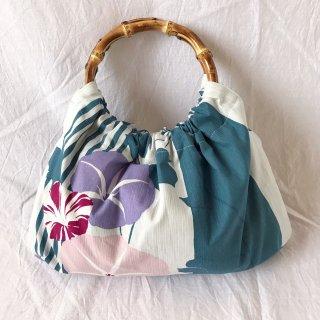 【和柄】浴衣生地:スカートとおそろいバッグ(朝顔)