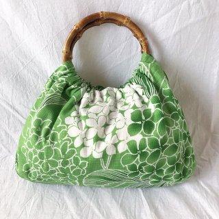 【和柄】浴衣生地:スカートとおそろいバッグ(山紫陽花)