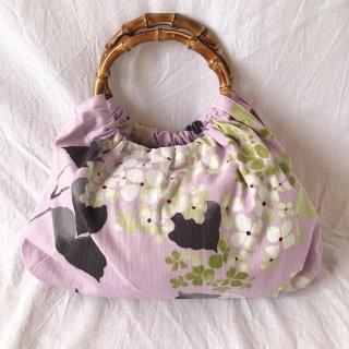 【和柄】浴衣生地:スカートとおそろいバッグ(紫陽花:紫ピンク)