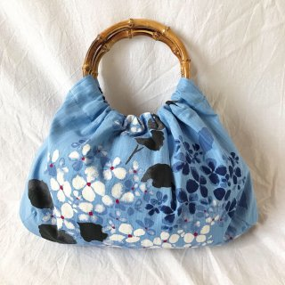 【和柄】浴衣生地:スカートとおそろいバッグ(紫陽花:ブルー)