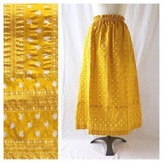 フレンチリップルの裾切替スカート(ひまわりイエロー)