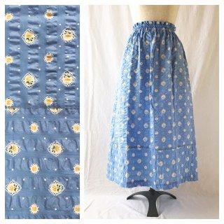 フレンチリップルの裾切替スカート(ラベンダーブルー)
