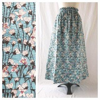 優しいリップルのAラインスカート:85�(揺れる花:ブルー)