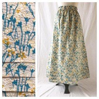 優しいリップルのAラインスカート:85�(揺れる花:ベージュ)