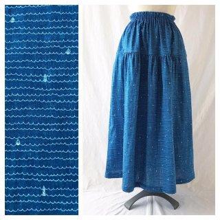 【肌ざわり至上主義】上品マリンのティアードスカート(ヨットと灯台:ブルー)