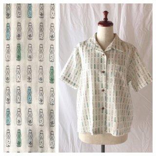 【肌ざわり至上主義】ダブルガーゼのレディスアロハシャツ(ラムネ:クリーム×マルチ)
