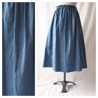 75cm丈:あったかベーシックなレクタングルスカート(デニムプリント:ブルー)