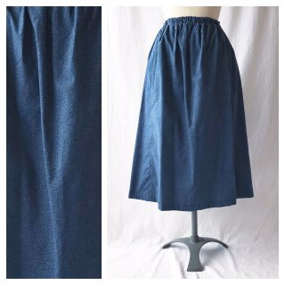 75cm丈:あったかベーシックなレクタングルスカート(デニムプリント:ネイビー)