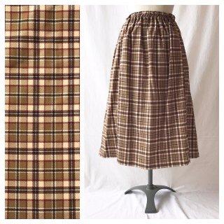 75cm丈:あったかベーシックなレクタングルスカート(タータンチェック:ベージュ)