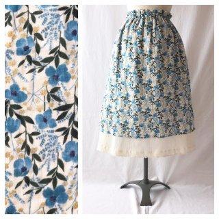 【肌ざわり至上主義】大人のエプロンスカート:75cm(水に花の流るる:ブルー)