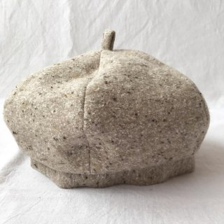 三毛猫屋のベレー帽 S/M/L(ふかふかネップ:ベージュ)