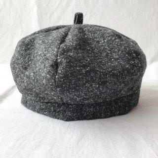 三毛猫屋のベレー帽 S/M/L(ふかふかネップ:ブラック)