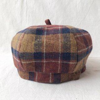 三毛猫屋のベレー帽 S/M/L(チェック:ブラウン)