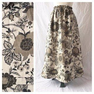 レディのためのシンプルAラインスカート(フレンチシノワ:生成り×カーキ)