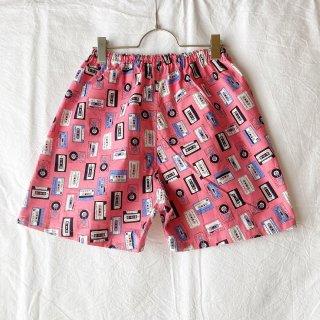 ★送料無料★可愛いハギレのショートパンツ:M(カセットテープ:ピンク)