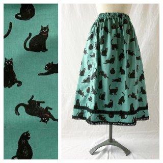 黒猫のレクタングルスカート:75cm(ミント×ブラックレース)