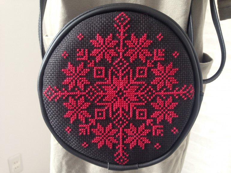 まんまる刺繍バッグ(赤)