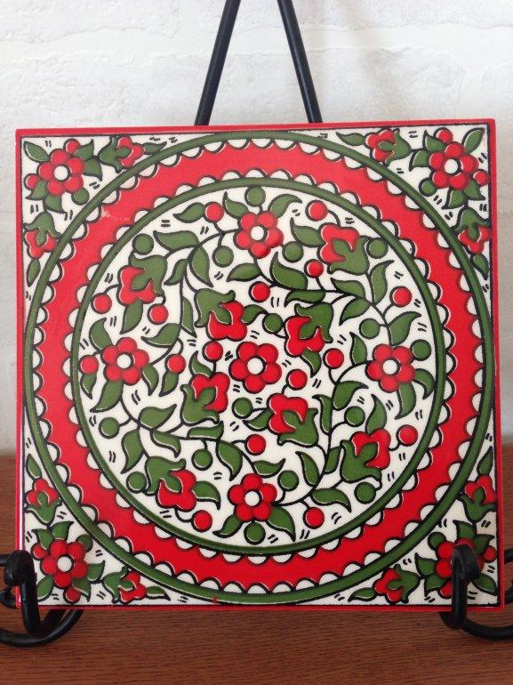 ヘブロン陶器タイル・赤い花1