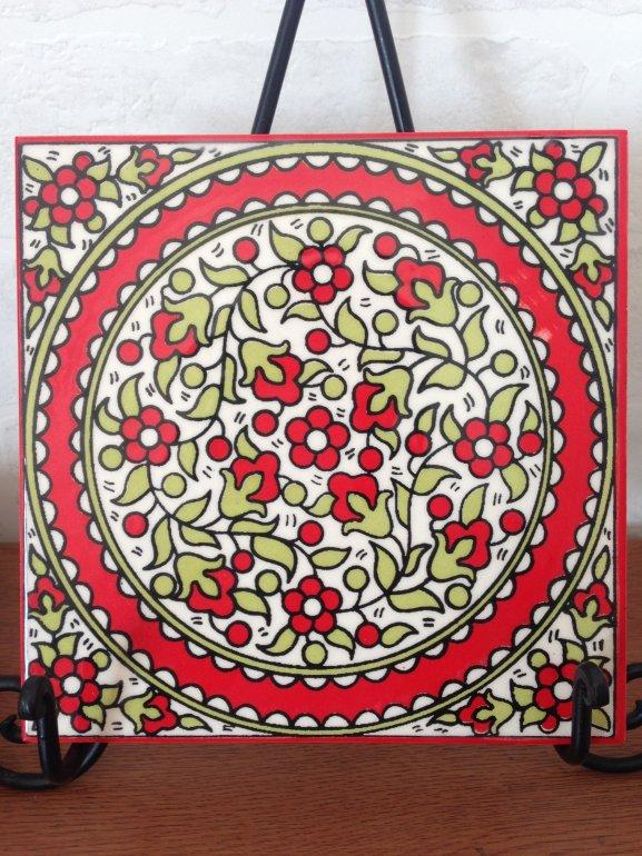 ヘブロン陶器タイル・赤い花2