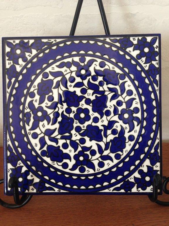 ヘブロン陶器タイル・青い花1