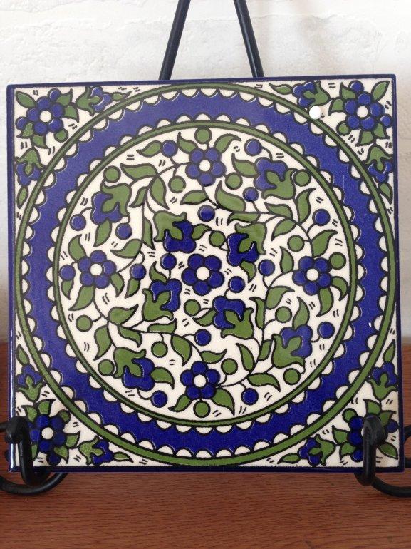 ヘブロン陶器タイル・青い花2