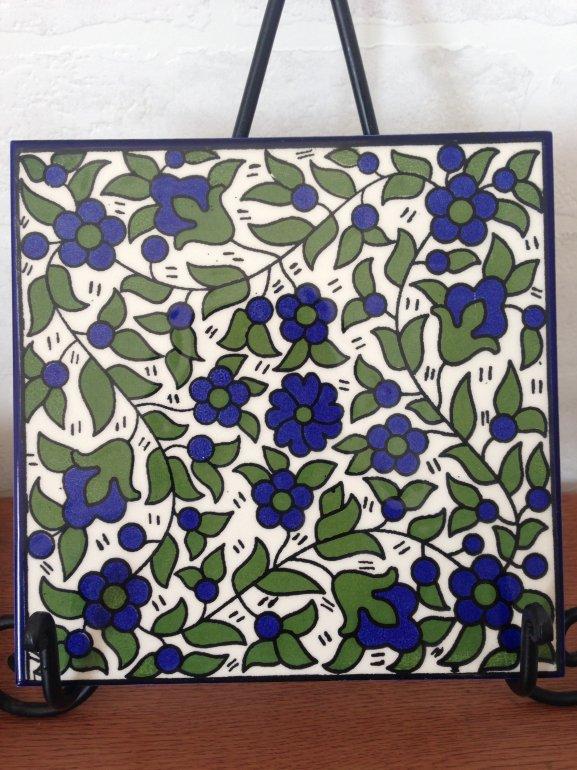 ヘブロン陶器タイル・青い花4