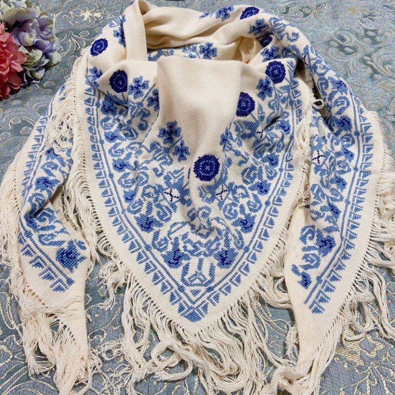 薔薇刺繍ストール(白・ブルーローズ)