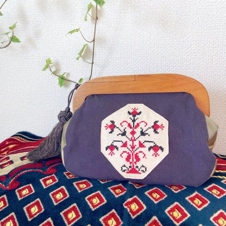 【受注生産】刺繍がま口バッグ(flower)