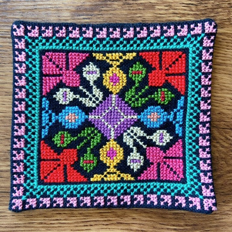 華刺繍コースター(カラフル)