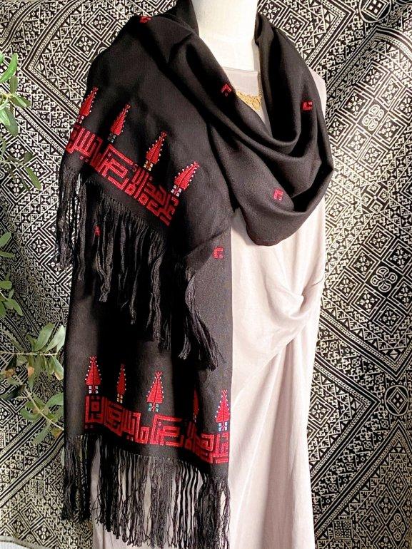 Arabic刺繍ストール(赤)