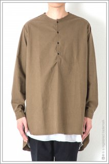 ◯HENLEY NECK LONG SHT<br>【Khaki】