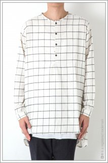 HENLEY NECK CHECK LONG SHT<br>【Off】