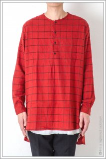 HENLEY NECK CHECK LONG SHT<br>【Red】