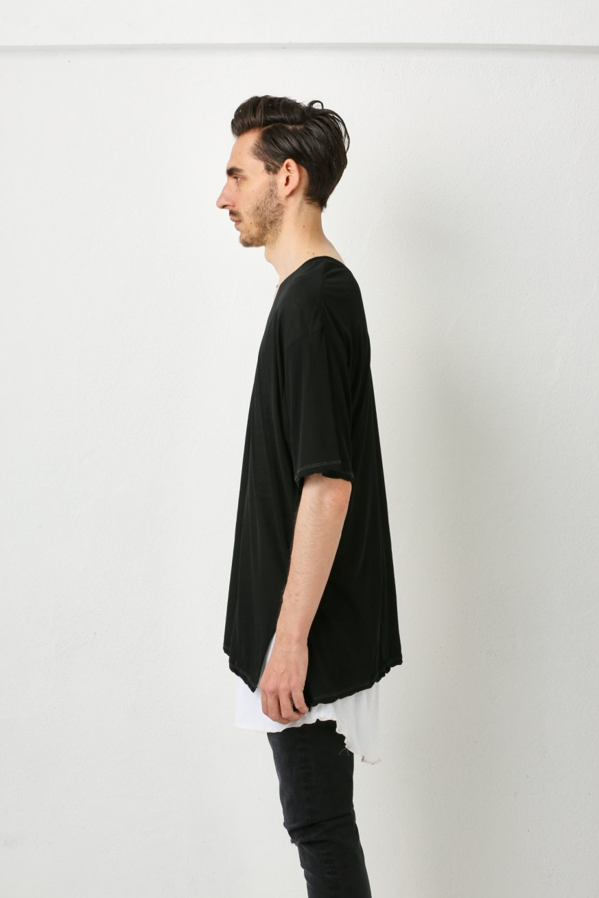 V.NECK WIDE TEE【Black】