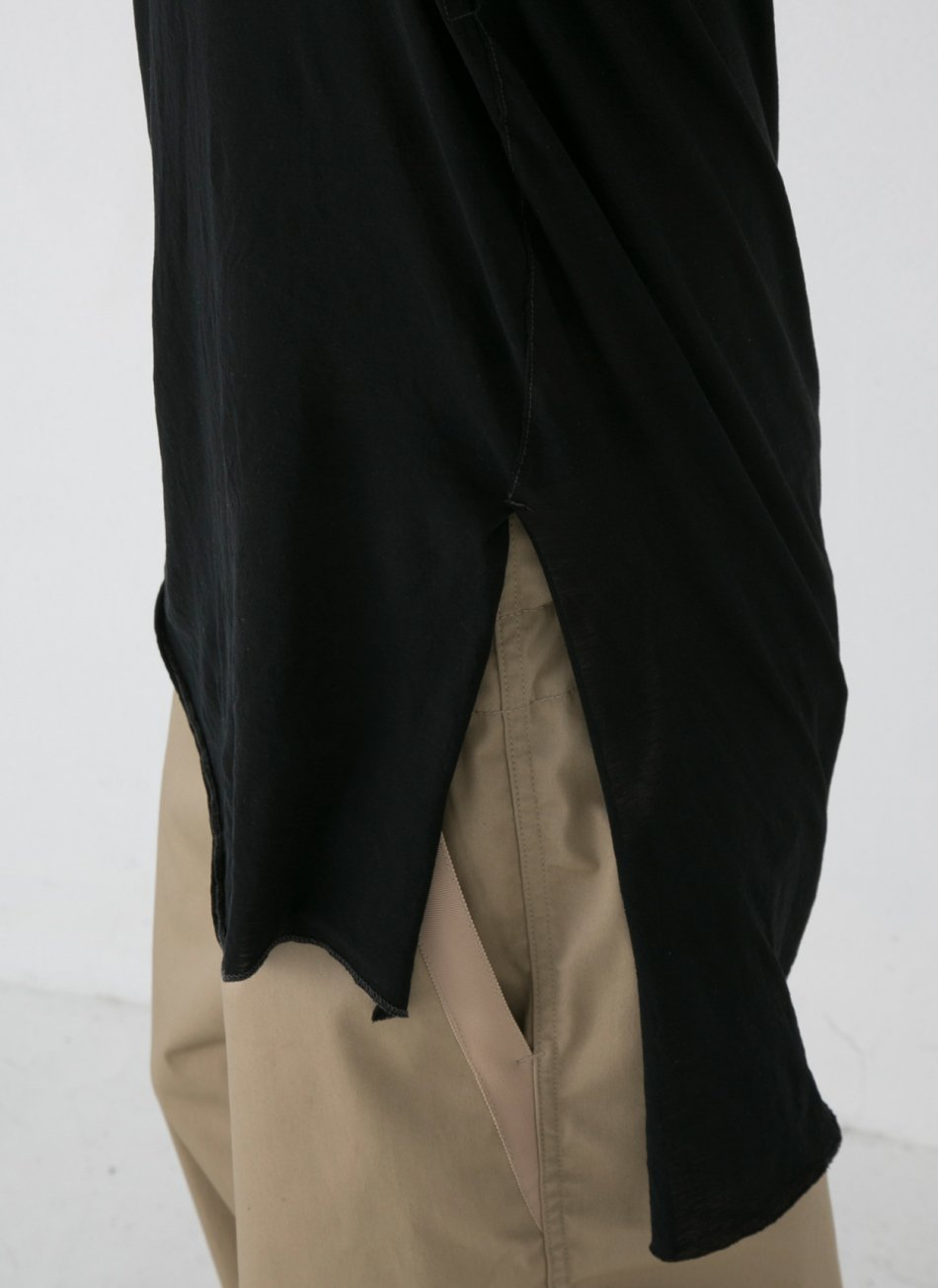 LONG SLIT TANK TOP【Black】