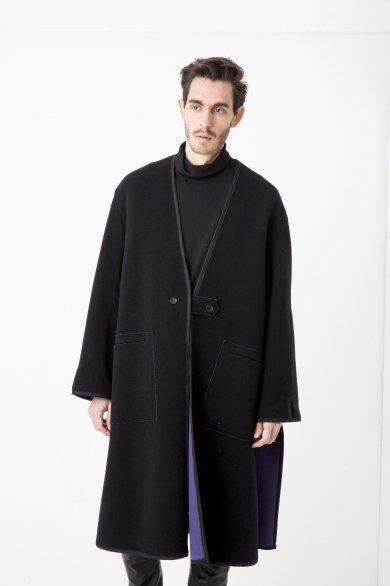 NO COLLR LONG SLIT COAT【Black】
