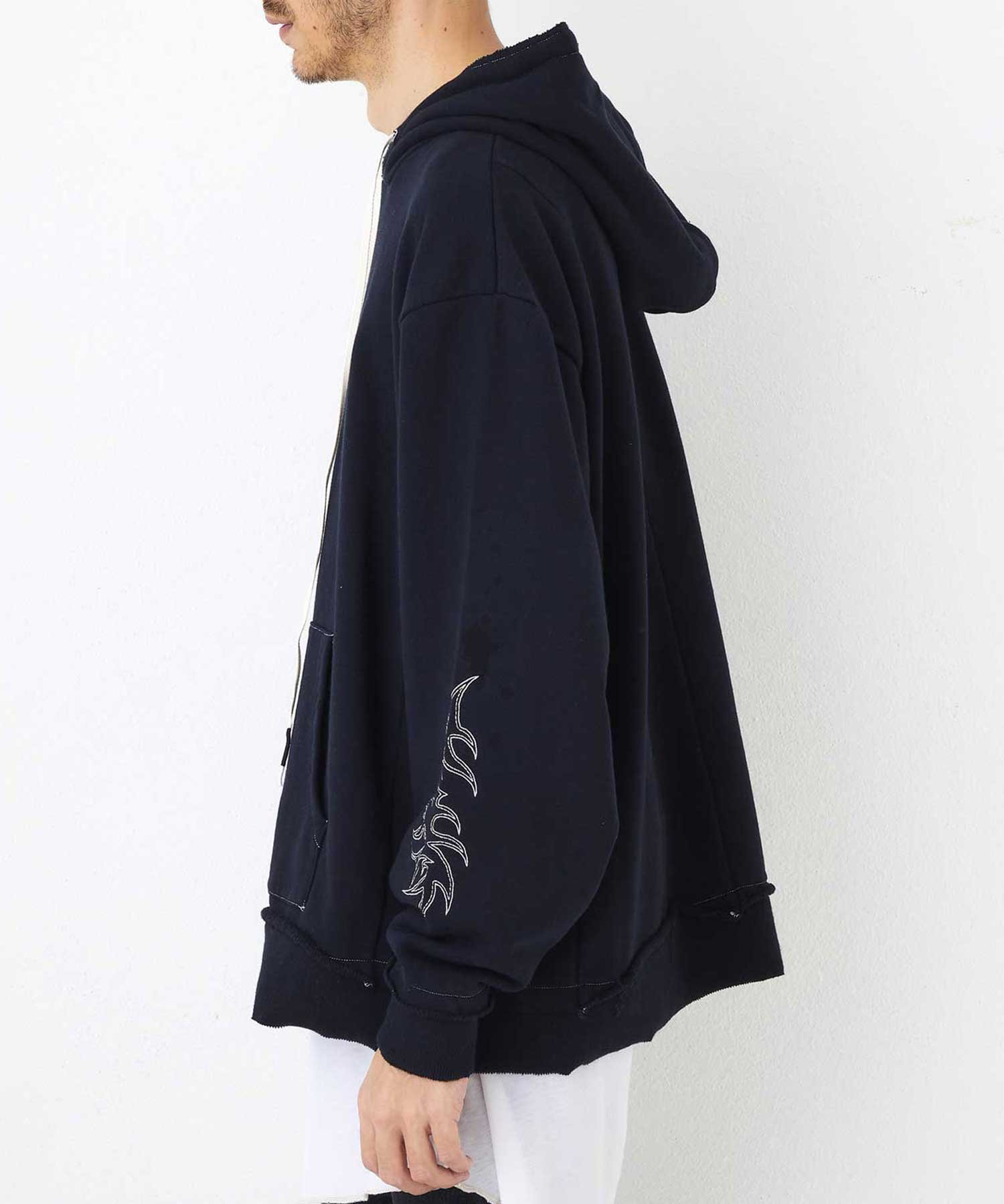 "WIDE PARKA ""EMBROIDERY""【Black】"