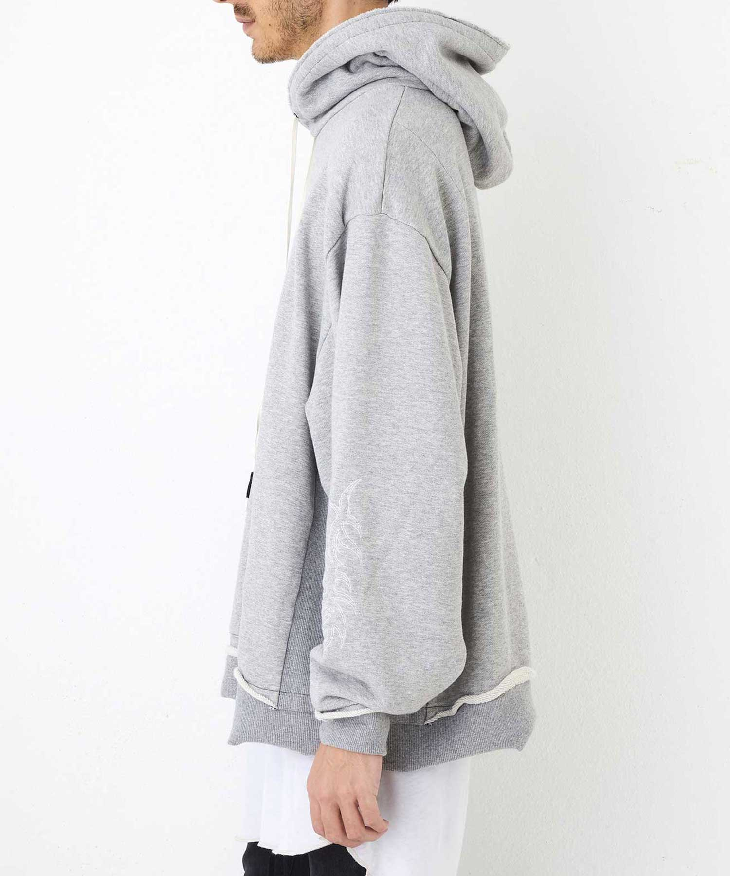 """WIDE PARKA """"EMBROIDERY""""【Gray】"""