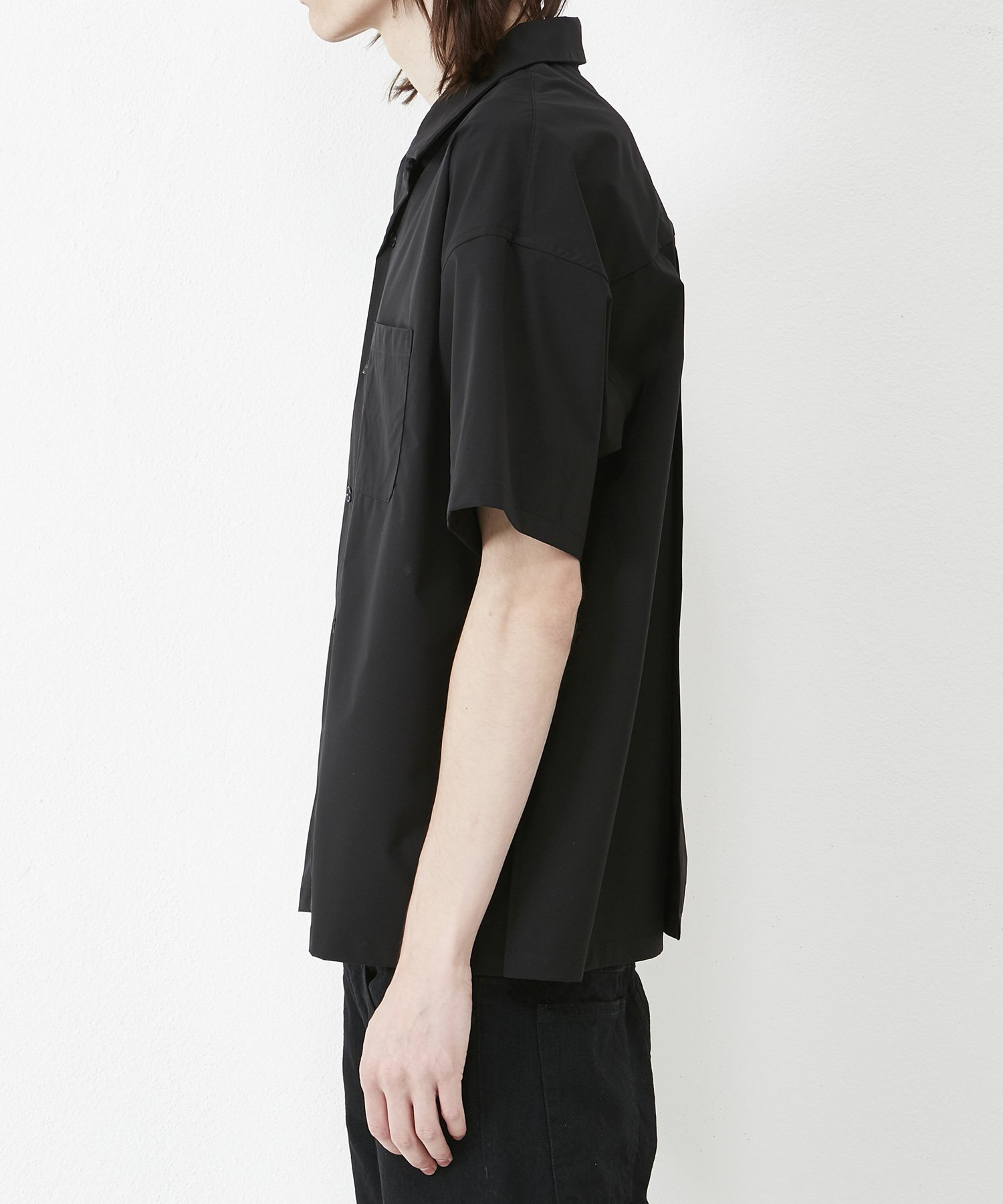 OPEN COLLAR SHT 【BLACK】