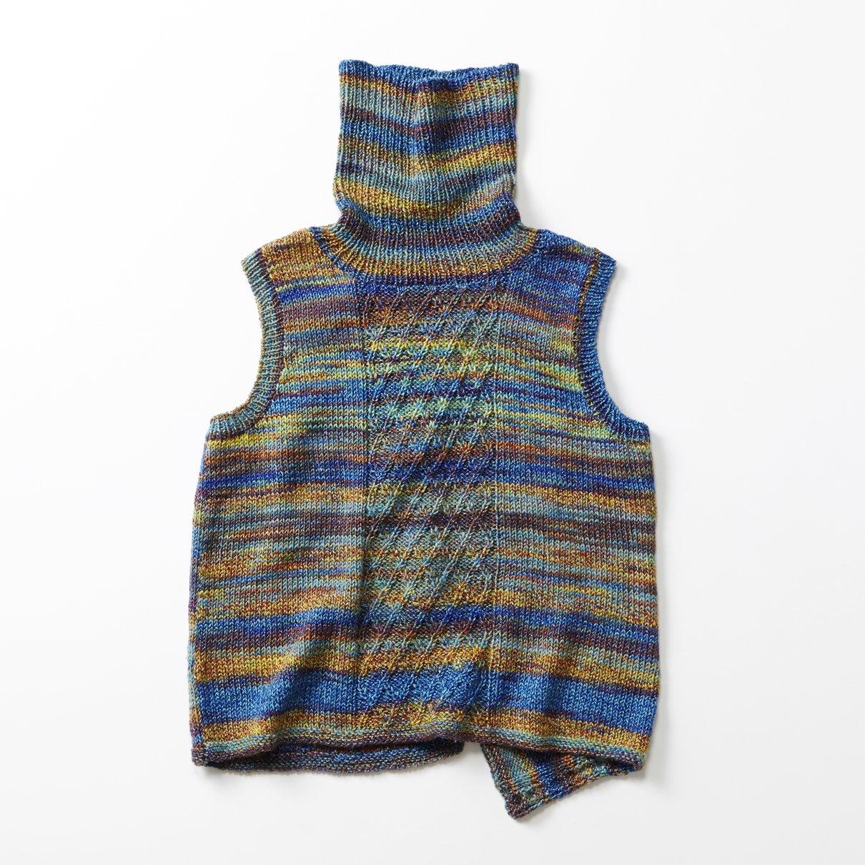 タートル斜め編みベスト