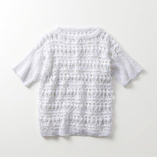 かぎ針編み透かし模様 半袖プル(リブ袖)