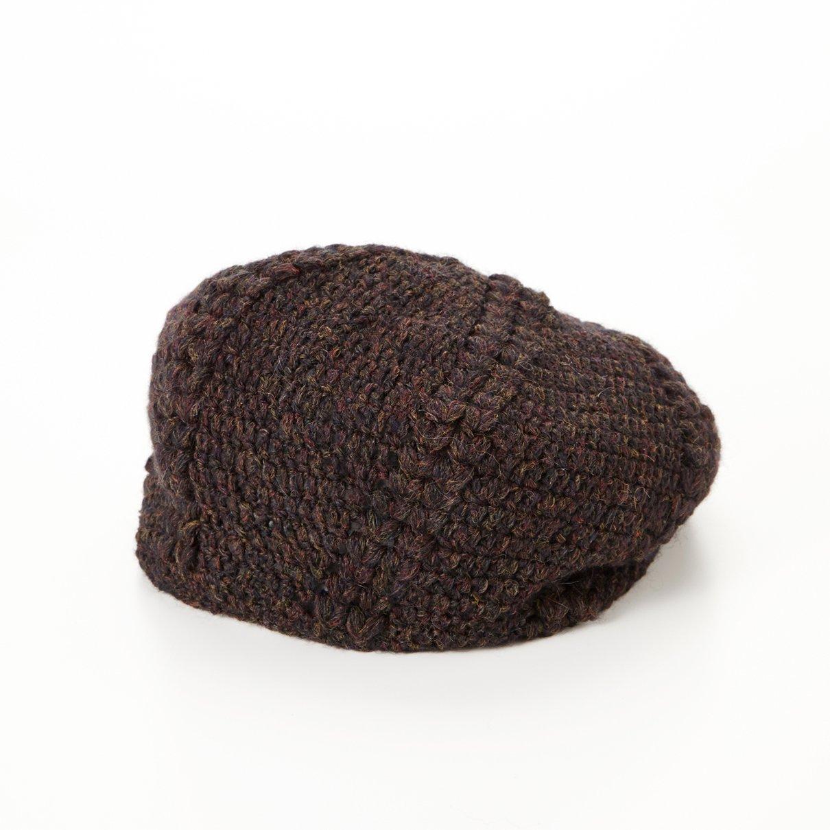 変形玉編みベレー帽(フラッフィーメランジ)