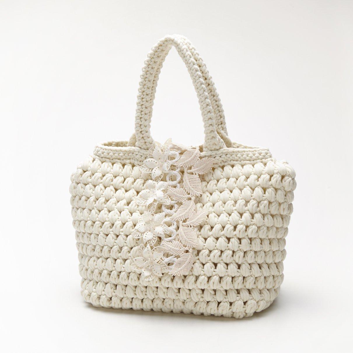 白玉編みバッグ(ブレード付き)
