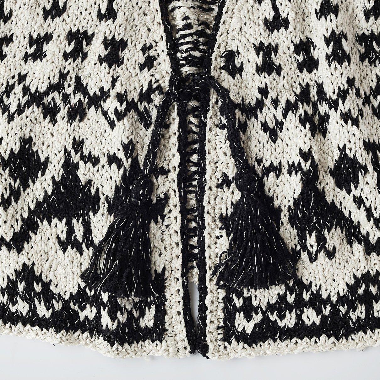 夏の編み込みカーディガン