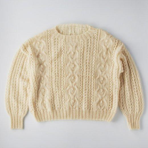 アランと透かし編みのプルオーバー
