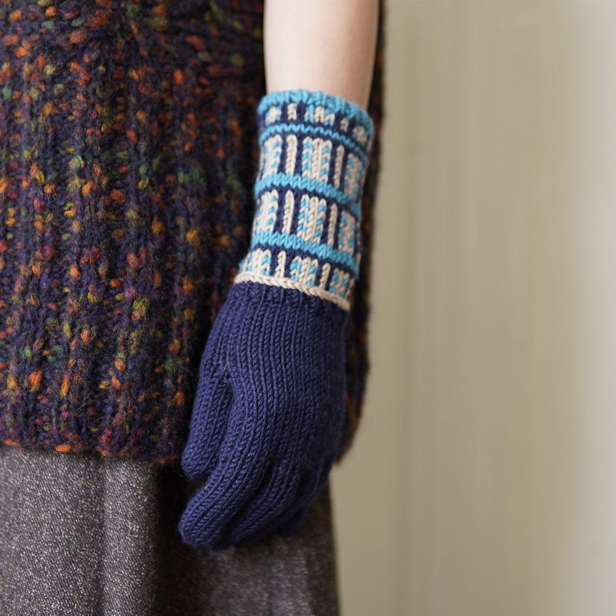 すべり目模様の手袋