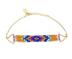 chibi jewelsブレスレット ダイヤモンドパターンビーズ ターコイズ/パンプキン 通販