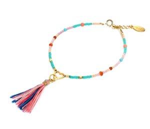 chibi jewelsブレスレット カラフルビーズ ウィズ チャーム&タッセル ピンク/ハート 通販