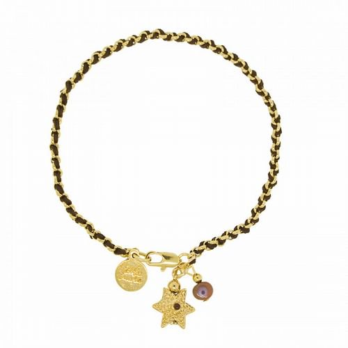 Blee Inaraブレスレット String and Chain Bracelet with Star of David/Gold-Brown 通販